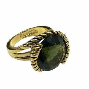 Lia Sophia Envy Green Gold Ring 11 NWOT
